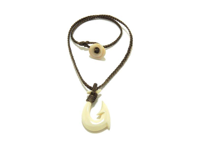Ocean tuff jewelry hawaiian fish hook puka shell necklace on for Hawaiian fish hook necklace