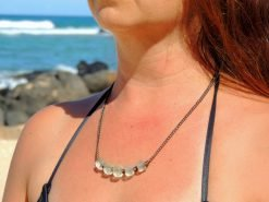 Ocean Tuff Jewelry - Recycled Glass Bead Necklace in Sea Foam Green