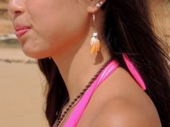 Ocean Tuff Jewelry - Large Sunrise Shell Chip Earrings With Puka Shell Accents