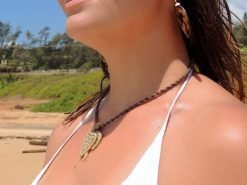 Ocean Tuff Jewelry - Carved Bone Honu - Turtle on Natural Weave Necklace