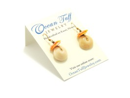 Ocean Tuff Jewelry - Puka Shell & Sunrise Shell Chip Earrings 14k