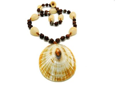 Ocean Tuff Jewelry - Rare Golden Opihi Shell & Gold Stone Necklace