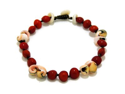 Ocean Tuff Jewelry - False WiliWili Seed Bracelet With Exotica Shell Accents