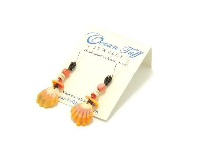Ocean Tuff Jewelry - Sunrise & Puka Shell Earrings with Coral Pink Beads