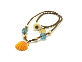 "Ocean Tuff Jewelry - Kauai Sunrise Shell Necklace with Puka Shell & Glass Bead Accents (17.5"")"