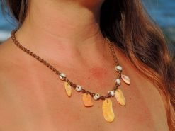 "Ocean Tuff Jewelry - ""Polihale Fire"" Necklace with Puka Shell Accents"