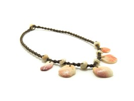"Ocean Tuff Jewelry - ""Polihale Plumeria"" Necklace with Puka Shell Accents"