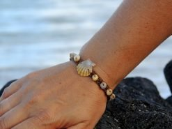 Ocean Tuff Jewelry - Rare Yellow & Grey Kauai Sunrise Shell Bracelet