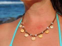 Ocean Tuff Jewelry- Rare Golden Rainbow Floating Puka Necklace