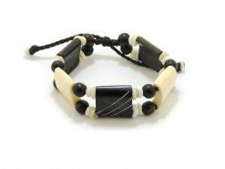 Ocean Tuff Jewelry - African Bone Beaded Bracelet with Kauai Puka Shells