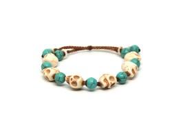 Ocean Tuff Jewelry - White Howlite Skull & Turquoise Beaded Bracelet