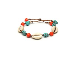 Ocean Tuff Jewelry - Turquoise Skull & Cowrey Shell Bracelet with Orange coral accents