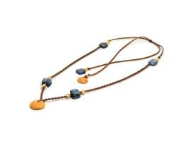 Ocean Tuff Jewelry - Rare Golden Puka Shell & Blue Kyanite Necklace