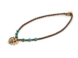 Ocean Tuff Jewelry - Kauai Drupe shell Necklace with Genuine Turquoise Beads