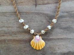 Ocean Tuff Jewelry - Kauai Sunrise Shell Necklace with Puka Shell Accents