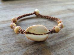 Ocean Tuff Jewelry - Cowry Shell Half & Acai Wood Bead Bracelet or Anklet