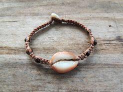Ocean Tuff Jewelry - Cowry Shell Half & MultiColored Wood Bead Bracelet