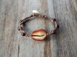 Ocean Tuff Jewelry - Cowry Shell Half & Wood Bead Bracelet