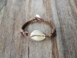 Ocean Tuff Jewelry - Cowry Shell Half & Palm Wood Bead Bracelet
