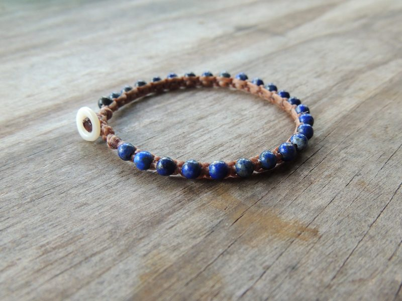 Ocean Tuff Jewelry - Lapis Lazuli Gemstone Microweave Bracelet
