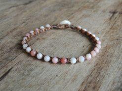 Ocean Tuff Jewelry - Pink Opal Gemstone Microweave Bracelet