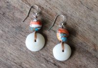 Ocean Tuff Jewelry - Puka Shell & Spiny Oyster Earrings - Orange or Red (Orange)