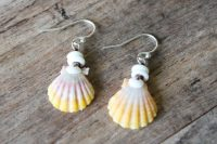 Ocean Tuff Jewelry - Sunrise Shell with Puka Shells Earrings - Pair 1