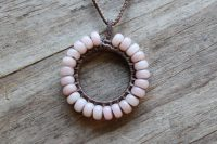 Ocean Tuff Jewelry - Pink Opal Woven Circle Pendant Necklace