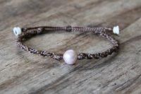 Ocean Tuff Jewelry - Single Freshwater Pearl Adjustable Bracelet - Creamy/Peach