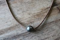 Ocean Tuff Jewelry - Large Tahitian Pearl on Thick Braid Necklace (Natural)