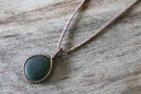 Ocean Tuff Jewelry - Sea Glass Pendant Necklace - Dark Green