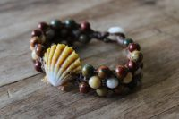 Ocean Tuff Jewelry - Sunrise Shell Bracelet with Red Creek Jasper & Crazy Lace Agate