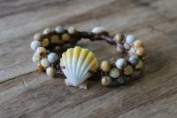 Ocean Tuff Jewelry - Sunrise Shell Bracelet with Crazy Lace Agate & Yellow Jade