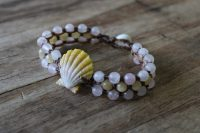Ocean Tuff Jewelry - Sunrise Shell Bracelet with Rose Quartz & Yellow Jade
