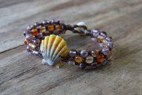 Ocean Tuff Jewelry - Sunrise Shell Bracelet with Super Seven Quartz & Carnelian