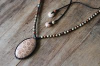Ocean Tuff Jewelry - Fossil Coral Pendant & Impression Jasper Adjustable Necklace