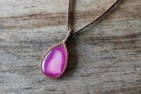 Ocean Tuff Jewelry - Pink & White Druzy Agate Gemstone Pendant Necklace