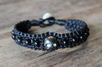 Ocean Tuff Jewelry - Carved Skull Tahitian Pearl & Rainbow Obsidian Bracelet - Large