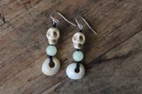 Ocean Tuff Jewelry - Modern Ye Ming Zhu & Howlite Skull Earrings