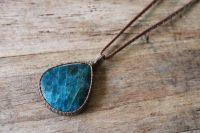 Ocean Tuff Jewelry - Neon Blue Apatite Pendant Necklace