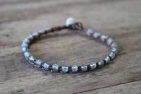 Ocean Tuff Jewelry - Aqua Blue Apatite Gemstone Microweave Bracelet