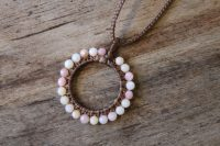 Ocean Tuff Jewelry - Faceted Pink Opal Circle Pendant Necklace