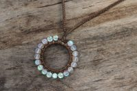 Ocean Tuff Jewelry - Aqua Aura Woven Circle Pendant Necklace