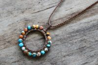 Ocean Tuff Jewelry - Spiny Oyster Turquoise Circle Pendant Necklace
