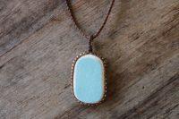 Ocean Tuff Jewelry - Bezeled Sea Pottery Pendant Necklace - Sky Blue