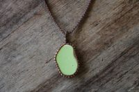 Ocean Tuff Jewelry - Bezeled Sea Pottery Pendant Necklace - Mint Green